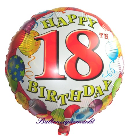 ballonsupermarkt luftballon folie geburtstag 18 happy 18th birthday. Black Bedroom Furniture Sets. Home Design Ideas