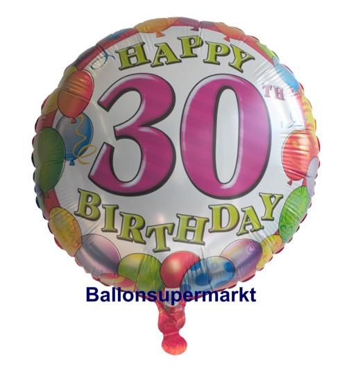 happy birthday 30 balloons luftballon mit helium zum 30 geburtstag geburtstag 30 luftballons. Black Bedroom Furniture Sets. Home Design Ideas