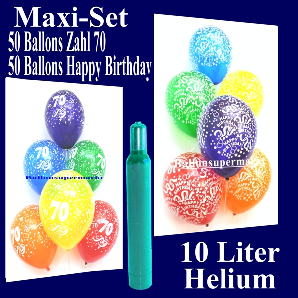 maxi set 50 luftballons happy birthday geburtstag 50 luftballons zahlen 70 mit helium 70. Black Bedroom Furniture Sets. Home Design Ideas