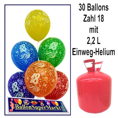 Helium Einwegbehalter Mit 30 Geburtstagsballons Zum 18