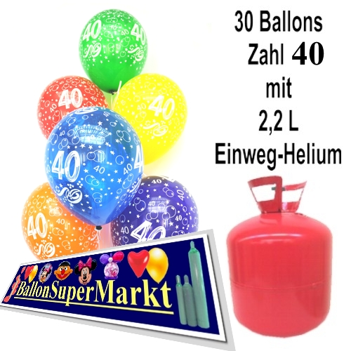 ballonsupermarkt helium einwegbeh lter mit 30 geburtstagsballons zum 40. Black Bedroom Furniture Sets. Home Design Ideas