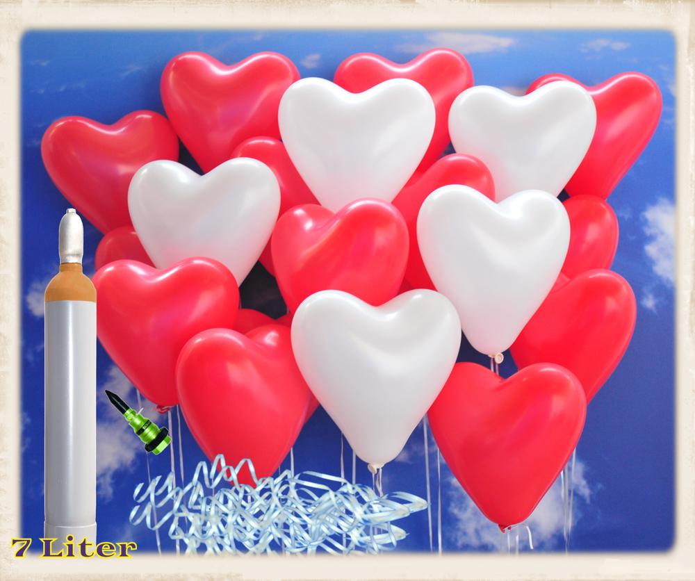 100 grün weiß Herzluftballon Luft-Ballon Hochzeit Herzballon Hochzeitdeko