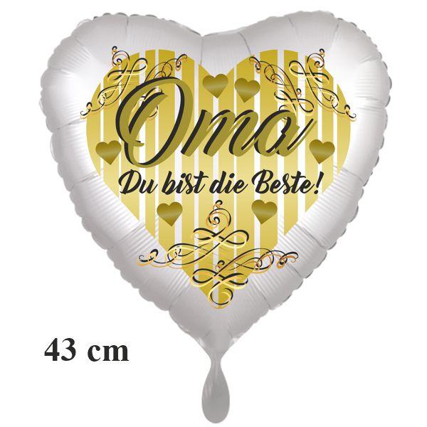 Oma - Du bist die Beste! Herzluftballon aus Folie, 43cm, satinweiß, ohne Helium