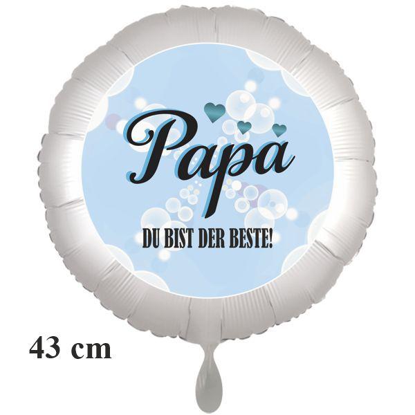 Papa DU BIST DER BESTE, runder Luftballon, 43 cm, satinweiß