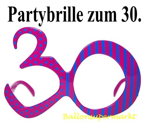 party brille zahl 30 zum 30 geburtstag geburtstag 30 dekoration geburtstag 30. Black Bedroom Furniture Sets. Home Design Ideas