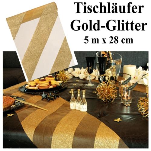 Deko Tischläufer Tischdecke Goldstreifen Glitter