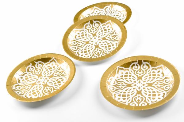 Ballonsupermarkt partyteller tischdeko for Pappteller gold