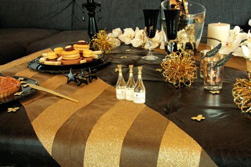 Deko Tischlaufer Tischdecke Goldstreifen Glitter Tischdekoration
