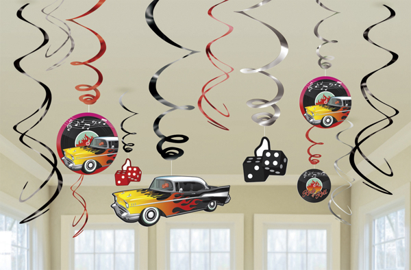 deko swirls wirbler dekoration 50er jahre partydekoration mottoparty fifties rock and roll. Black Bedroom Furniture Sets. Home Design Ideas
