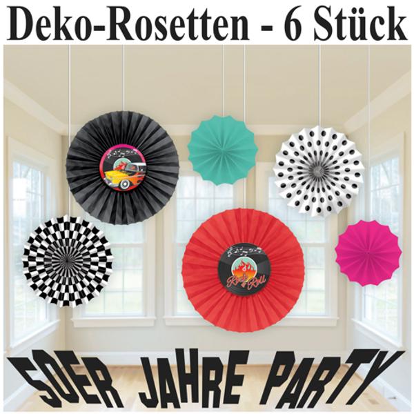 rosetten deko f cher 50er jahre party partydekoration mottoparty fifties rock and roll. Black Bedroom Furniture Sets. Home Design Ideas
