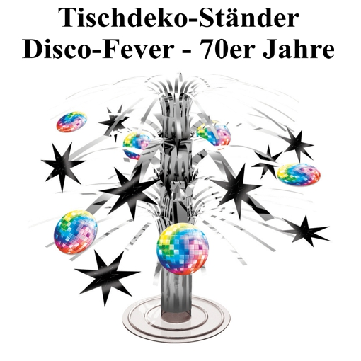 tischst nder disco party 70er jahre disco fever partydekoration mottoparty disco. Black Bedroom Furniture Sets. Home Design Ideas