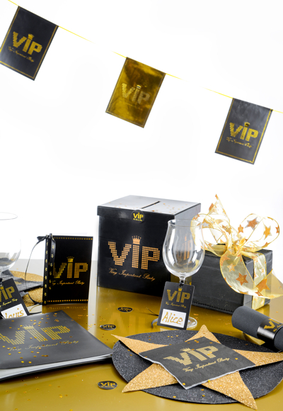 ballonsupermarkt banner kette v i p party partydekoration mottoparty vip. Black Bedroom Furniture Sets. Home Design Ideas