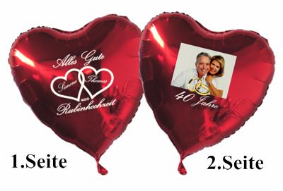 Großer Fotoballon in Herzform zur Rubinhochzeit, personalisiert, mit Namen der Brautleute. Inklusive Helium