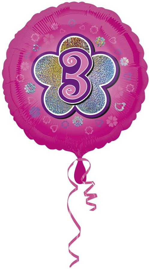 luftballon aus folie mit helium 3 geburtstag rosa m dchen geburtstag 45 cm folienballons. Black Bedroom Furniture Sets. Home Design Ideas