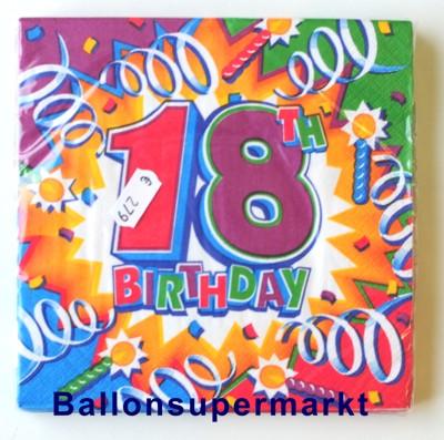 Ballonsupermarkt geburtstagsservietten for 18 geburtstag dekoration set