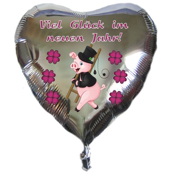 silvester dekoration 20 luftballons silberne herzen viel gl ck im neuen jahr mit 2 2 l. Black Bedroom Furniture Sets. Home Design Ideas