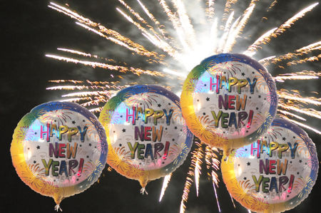 Silvester Party Luftballons, Happy New Year Rainbow
