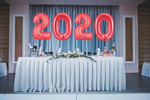 Zahlen Dekoration 2020 Silvester Rot
