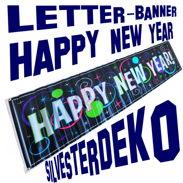 Silvester Dekoration, Letterbanner Happy New Year