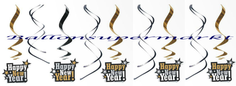 Silvester Deko-Swirls Happy New Year