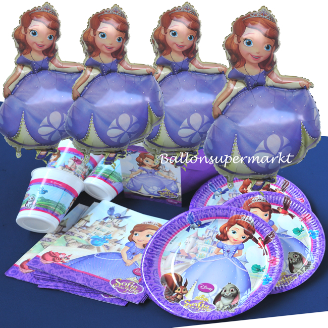 4 folienballons und party set sofia die erste folienballon mit ballongas partydekoration. Black Bedroom Furniture Sets. Home Design Ideas