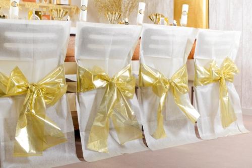 ballonsupermarkt 4 stuhlhussen elfenbein mit goldener schleife goldene. Black Bedroom Furniture Sets. Home Design Ideas