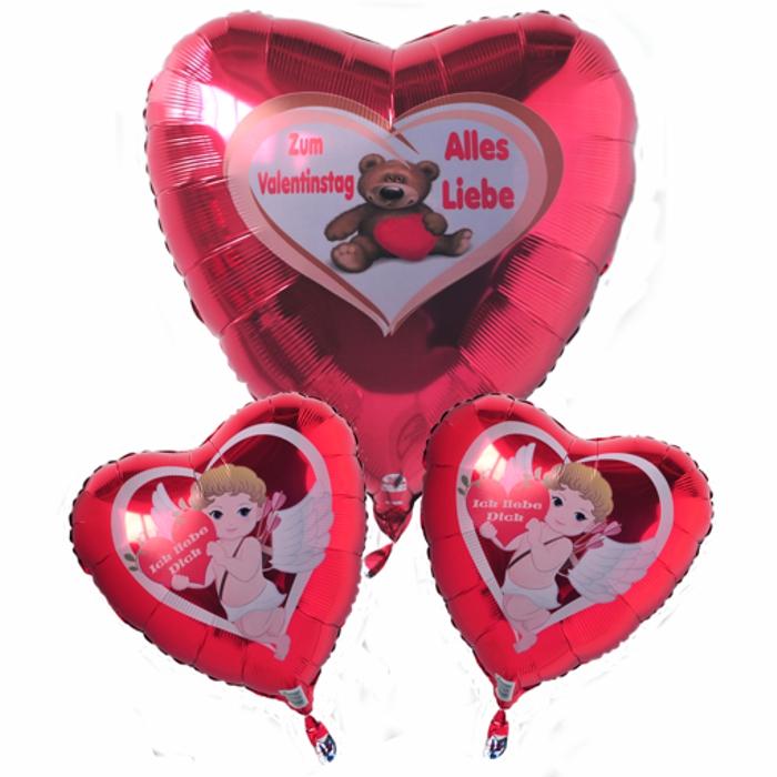 Zum Valentinstag Alles Liebe. Wunderschönes Luftballon-Bouquet aus Herzballons mit Helium. Schweben im Himmel der Liebe!