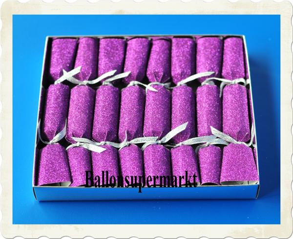 Knallbonbons Violett Glitter zu Silvester
