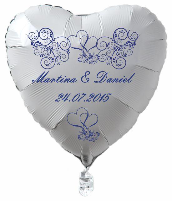 personalisierter Luftballon zur Hochzeit, weißes Herz mit Ornamenten, Namen des Hochzeitspaares und Datum des Hochzeitstages