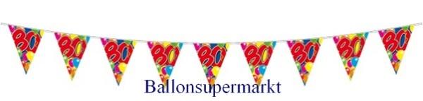 Ballonsupermarkt wimpelkette 80 wimpel for Dekoration 80 geburtstag