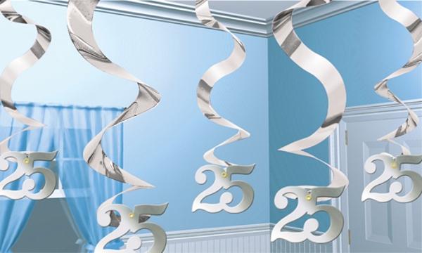 ballonsupermarkt stream swirls dekoration zahl 25 silberne hochzeit hochzeit. Black Bedroom Furniture Sets. Home Design Ideas