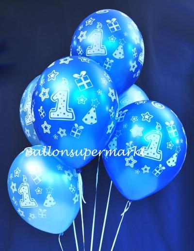 ballonsupermarkt luftballons latexballons happy 1 birthday blau hellblau. Black Bedroom Furniture Sets. Home Design Ideas