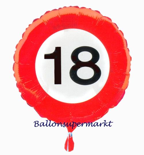 luftballon aus folie zum 18 geburtstag verkehrsschild zahl 18 mit helium ballongas. Black Bedroom Furniture Sets. Home Design Ideas