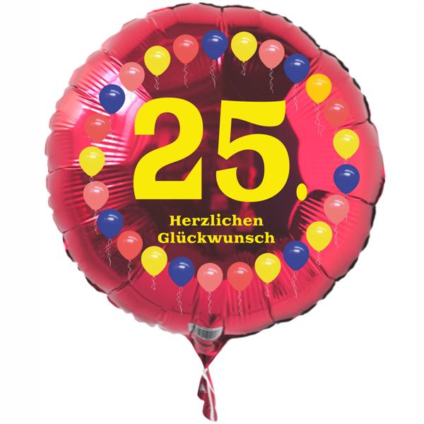Luftballon aus folie 25 geburtstag herzlichen gl ckwunsch ballons rot ohne helium - Geburtstagsbilder zum 25 ...