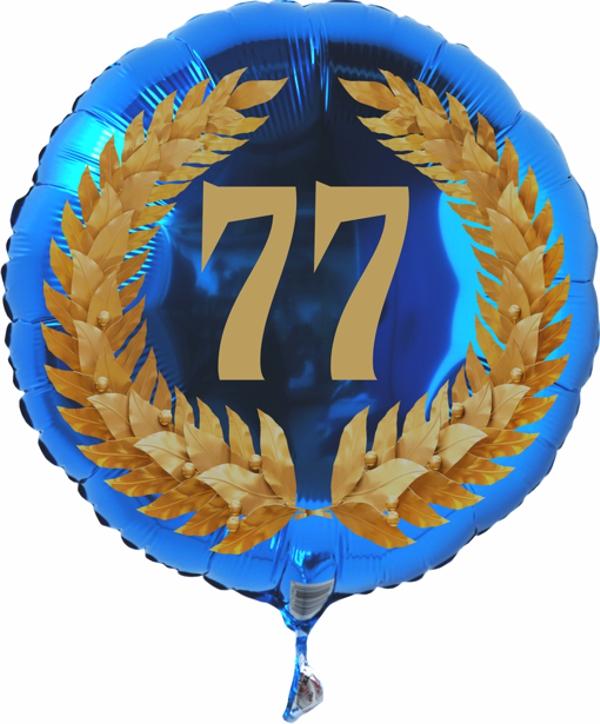 Folienballon mit der Zahl 77 im Lorbeerkranz, Folienballon mit ...