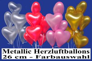 Herzluftballons 26 cm Metallic