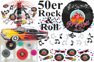 50er jahre party partydekoration rock and roll deko und luftballons mit helium. Black Bedroom Furniture Sets. Home Design Ideas