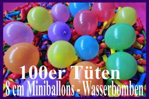 "Luftballons, Rundballons 8 cm, 3"", Wasserbomben, 100er Tüten"