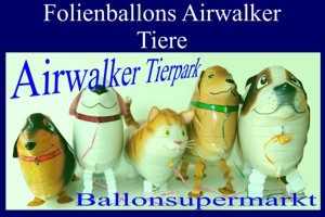 Luftballons aus Folien, Airwalker, laufende Tiere, inklusive Helium-Ballongas