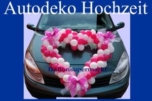 Autodekoration Hochzeit, Herzen aus Mini-Luftballons