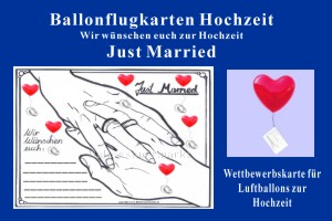 Ballonflug-Karte Hochzeit, Just Married