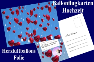 Luftballons mit Ballonflugkarten zur Hochzeit steigen lassen, Ballonflugkarten Hochzeit: Herzluftballons Folie