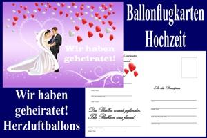 Luftballons mit Ballonflugkarten zur Hochzeit steigen lassen, Ballonflugkarten Hochzeit: Wir haben geheiratet - Herzluftballons
