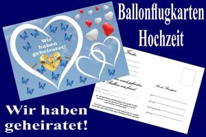 Luftballons mit Ballonflugkarten zur Hochzeit steigen lassen, Ballonflugkarten Hochzeit: Wir haben geheiratet