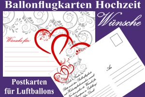 Ballonflugkarten Hochzeit, Wünsche für das Hochzeitspaar