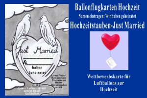 Ballonflugkarten Hochzeit, Hochzeitstauben