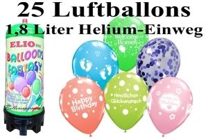Luftballons mit dem Helium-Mini Behälter 1,8