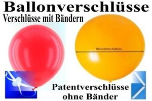 Patentverschlüsse u. Fixverschlüsse für Luftballons, Ballonbänder mit Fixverschlüssen