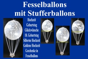Fesselballons mit Weithalsballons