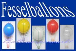 Fesselballons, Luftballons in Netzen